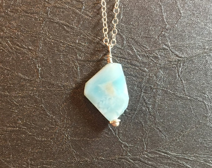 Larimar Slice Necklace in Sterling Silver Healing Chakra Energy Gemstones Inspirational Gift Minimalist