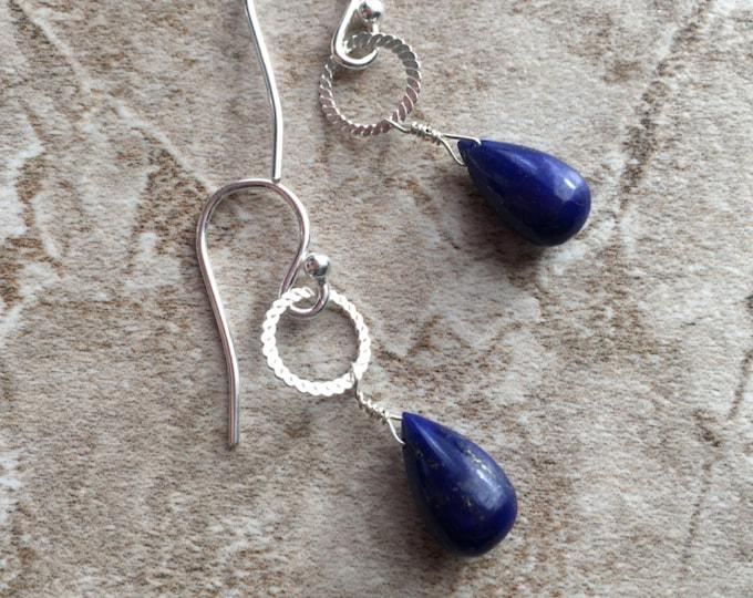 Lapis Lazuli and Bali Silver Earrings