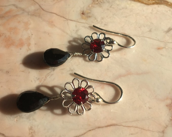 Sterling silver Spinel and Swarovski Earrings