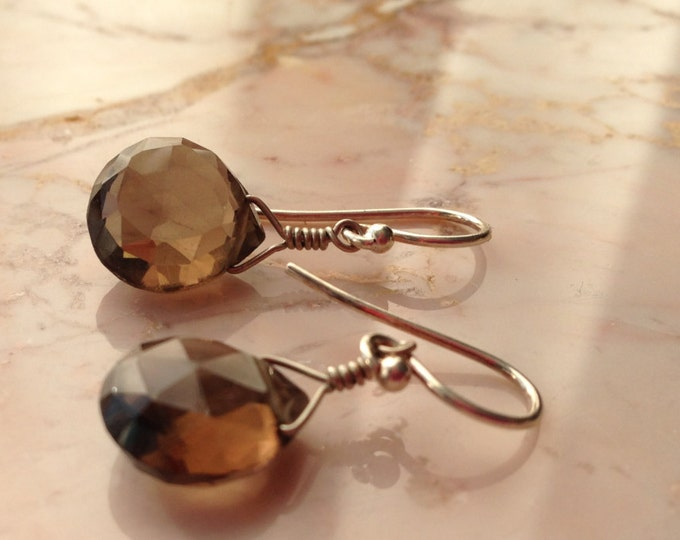 Smokey Quartz Earrings Chocolate Gift Simple Bridesmaid Drop