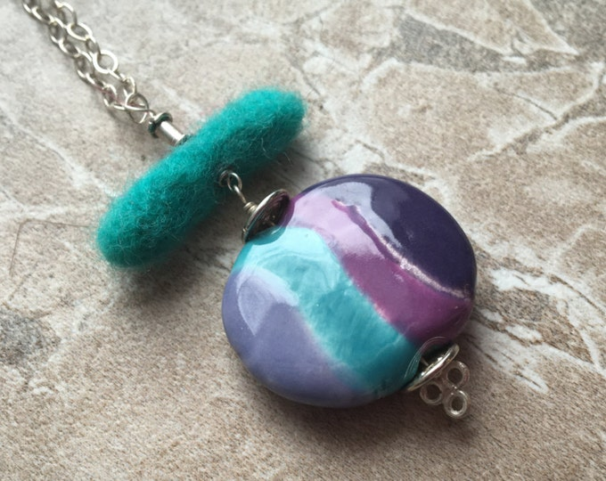Ceramic Disc and Felted Wool Necklace