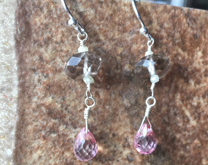 Smoky Quartz, Pink Topaz, and Raw Diamond Earrings in Sterling Silver