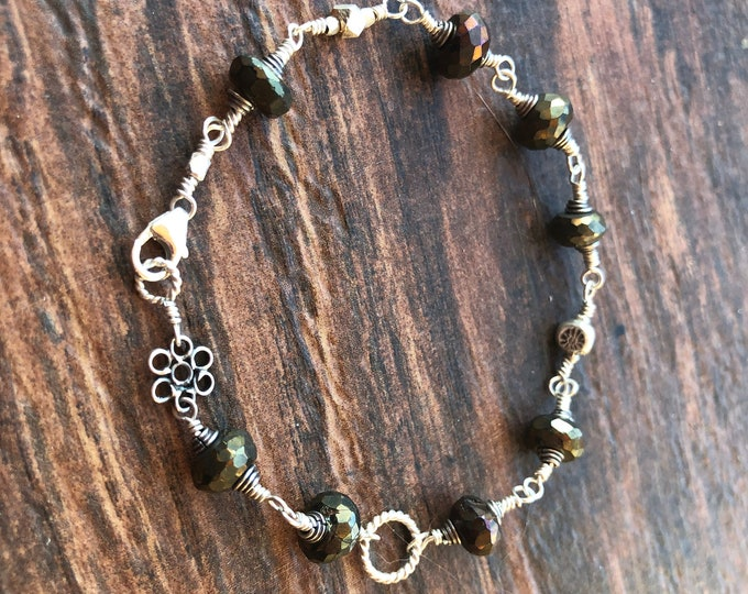 Sparkly Titanium Coated Spinel Wire Wrapped Bracelet with Bali Silver Accents Healing Chakra Energy Work