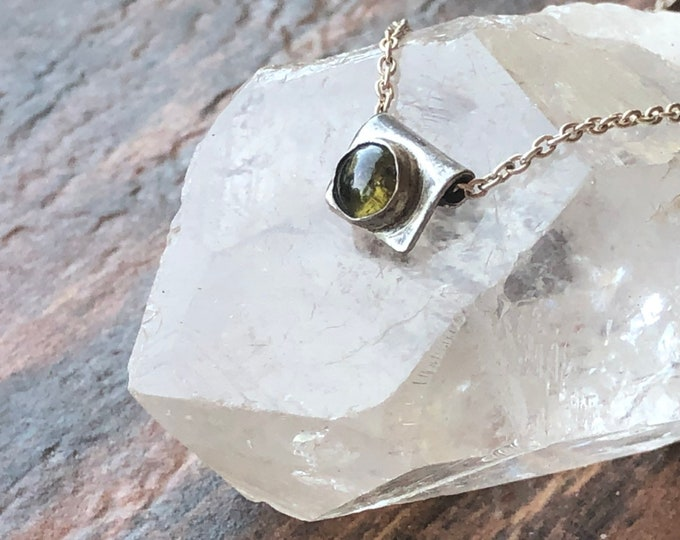 Sterling Silver and Smooth Round Golden Green Tourmaline Pendant Necklace Dainty Small Little Unique Special