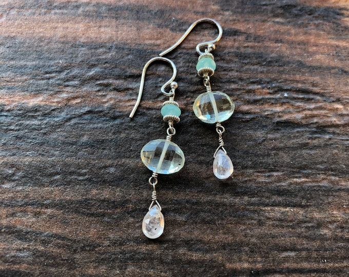 Delicate Chrysoprase, Prasiolite, Sapphire Earrings Bali Silver Sterling Silver Pastel Good Luck Talisman