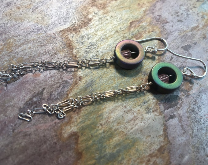 Colorful Hematite and Tourmaline Chain Earrings