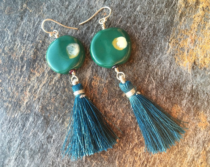 Green Teal Ceramic Round Disc Earrings with Sterling Silver Tassel Gift Unique