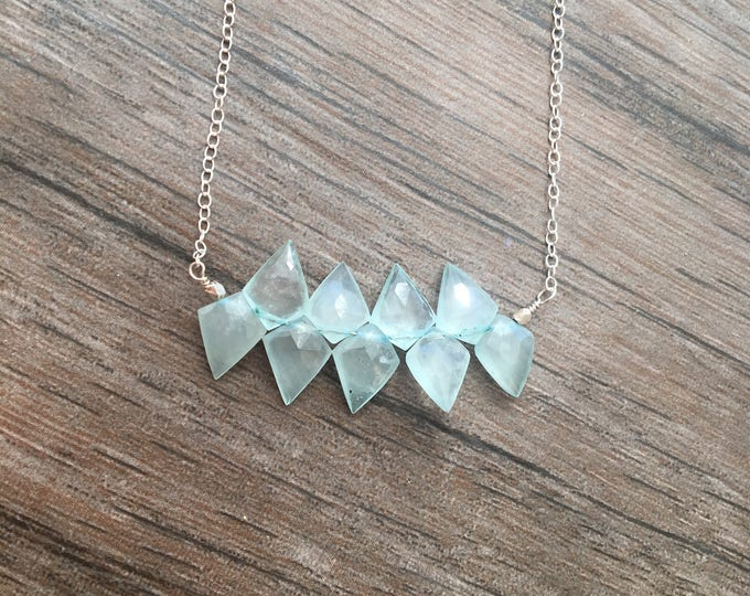 Unique Cut Aquamarine Faceted Bar Necklace Light Blue Kite