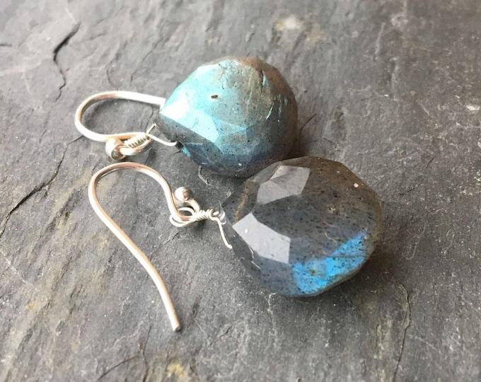 Flashy Labradorite Blue Gray Littles Earrings Simple Basic Minimalist Healing  Chakra Energy Gemstones Minimalist