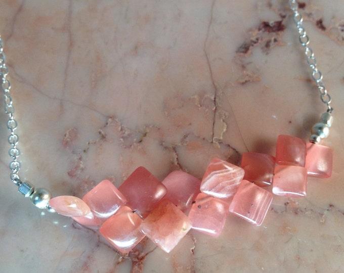 Rhodochrosite Peach Bar Necklace