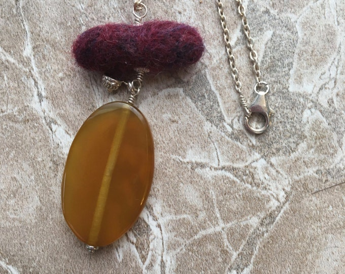 Handmade Felted Wool and Chalcedony Necklace