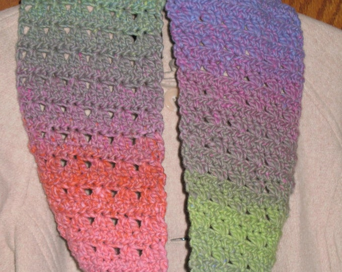 Handmade Autumn Sunset Crochet Infinity Cowl Scarf