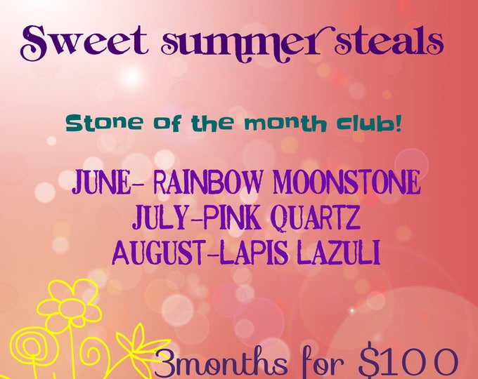 Stone of the Month Club June, July, August Littles Your Choice Necklace or Earrings Healing Chakra Energy Gemstones Inspirational Gift