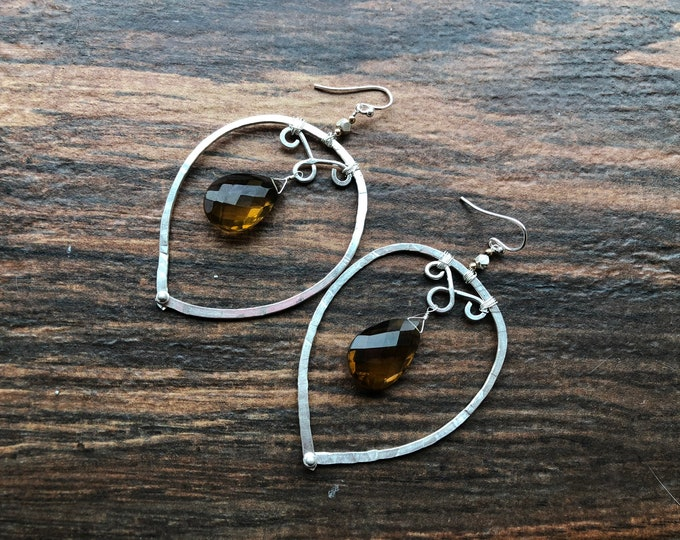 Big Sterling Silver Smoky Quartz Teardrop Earrings Rivet Wire Wrapped Thai Silver