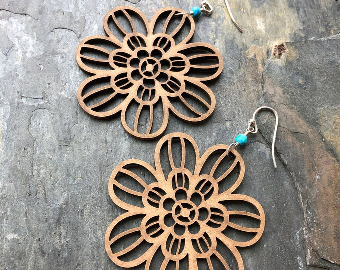 Wooden Flower and Turquoise Earrings