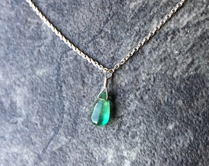 Stunning Smooth Emerald Littles necklace Good Luck May Birthstone Talisman Natural