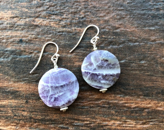Purple Charoite Coin Littles Earrings Sterling Silver Bali Silver Thai SIlver Minimalist Simple Talisman Good Luck Healing Inspirational