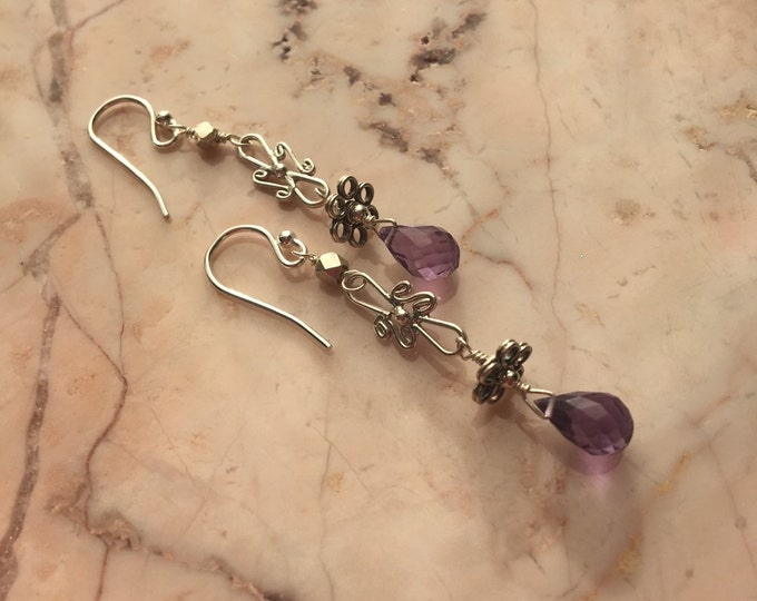Micro Faceted Amethyst and Bali Silver Sterling Earrings