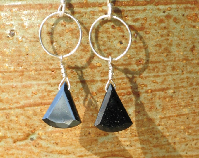 Handmade Triangle Onyx and Silver Circle Earrings