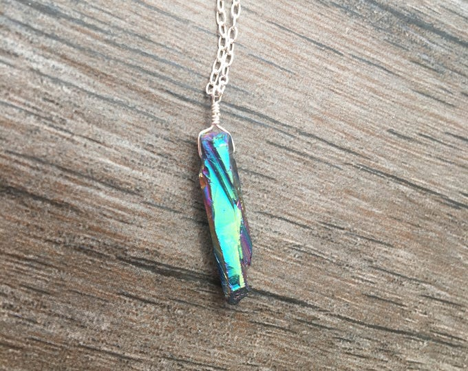 Rainbow Quartz Littles Necklace in Sterling Silver Dainty Delicate Minimalist Layer Healing Chakra Energy Gemstones Inspirational Gift