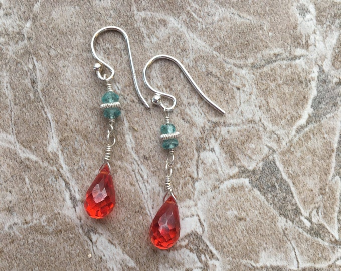 Handmade Sterling Silver, Apatite and Mandarin Cubic Zirconia Drop Earrings