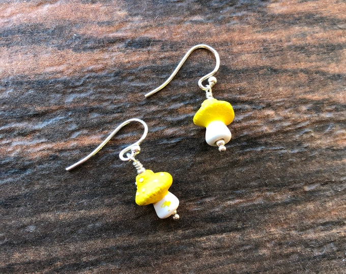 Yellow and White Ceramic Mushroom Earrings Sterling Silver Hippie Fungus