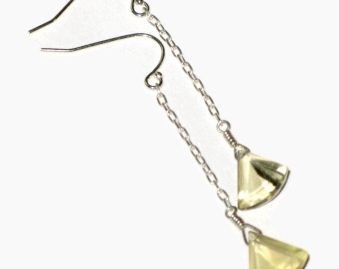 Yellow Lemon Quartz Triangle Drop Earrings Simple Good Luck Talisman