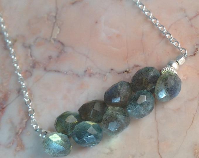 Labradorite Cluster Bar Necklace