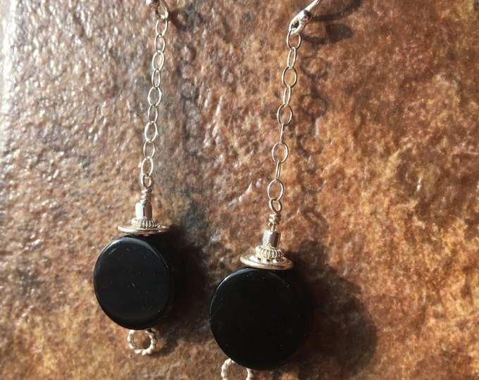 Modern Circle Onyx and Bali Silver Sterling Silver Earrings