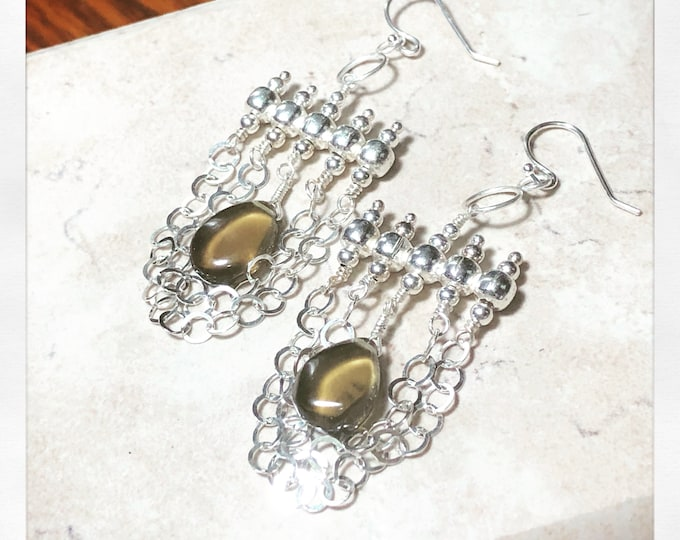 Sterling Silver and Smoky Quartz Chain Chandelier Earrings