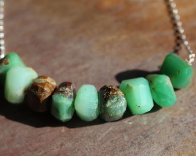 Mint Chrysoprase Nugget Bar Necklace Good Luck Chunky Green Bright Spring Chocolate Natural Healing