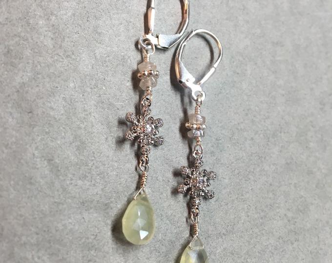 Mystic Aquamarine Snowflake Earrings