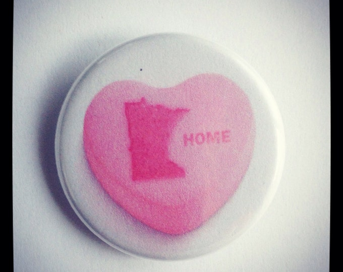 "Minnesota Candy Heart Home Button or Magnet 1.25"" in Pink Pride State Flair Impulse item"