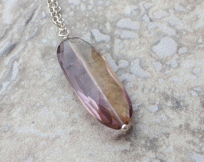 Long Ametrine Sterling Silver Littles Necklace Good Luck Gift Unique Healing Chakra Energy Gemstones Inspirational Gift