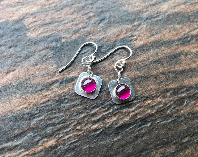 Sterling Silver and Lab Created Ruby Earring Simple Bali Silver Good Luck Square