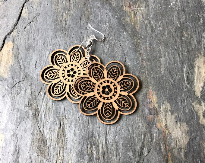 Laser Cut Wooden Flower Earrings Sterling SIlver Bali Silver Boho Hippie Summer Fun Light Nature Gift
