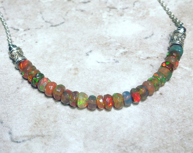 Flashy Ethiopian Opal Necklace with Bali Silver Accents