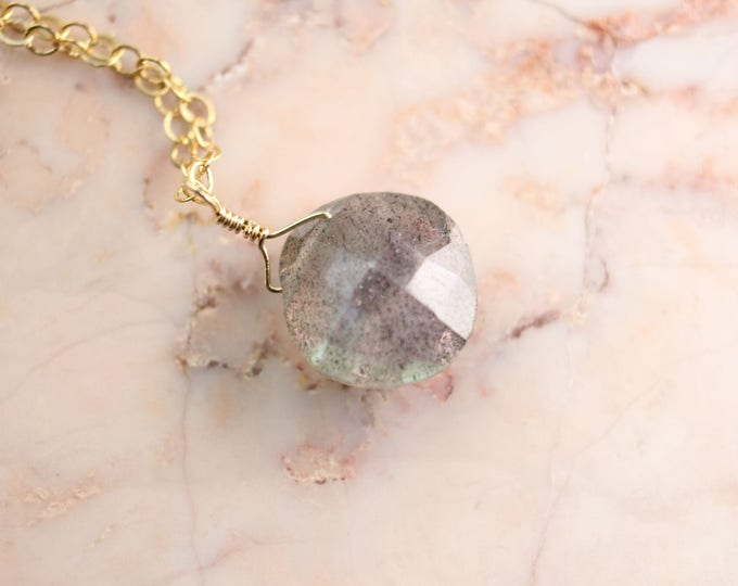 Cushion Cut Labradorite Littles Necklace Healing Chakra Energy Gemstones Inspirational Gift