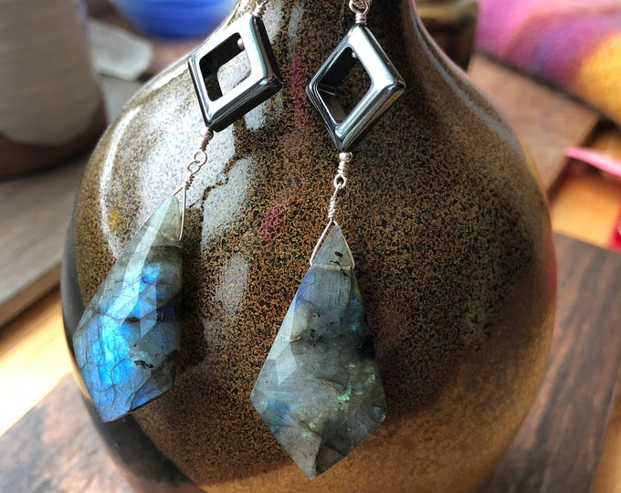 Labradorite Kites and Hematite Diamond Earrings with Bali Silver Accents