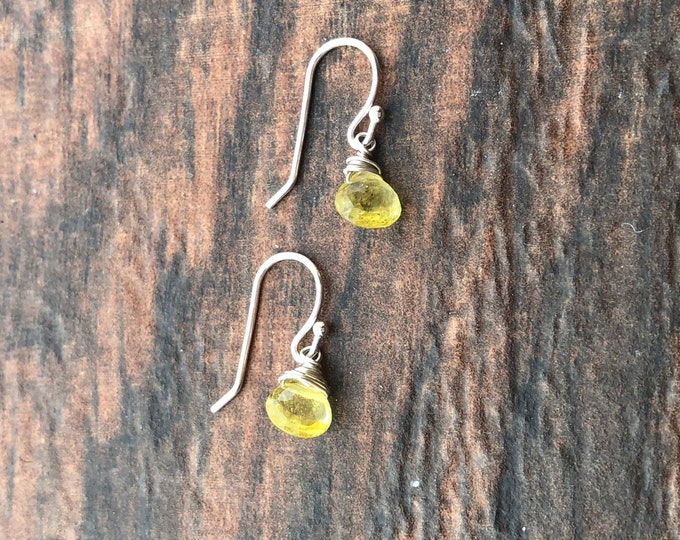 Bright Yellow Faceted Tourmaline Littles Earrings Good Luck Dainty Talisman Delicate