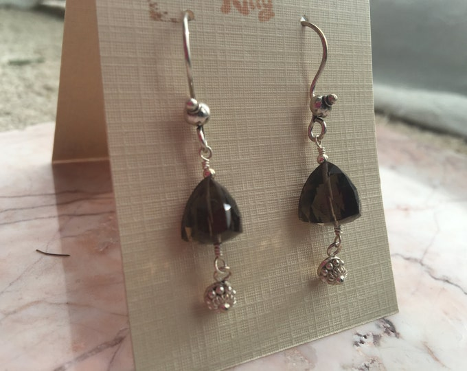 Handmade Smoky Quartz and Bali Silver Earrings