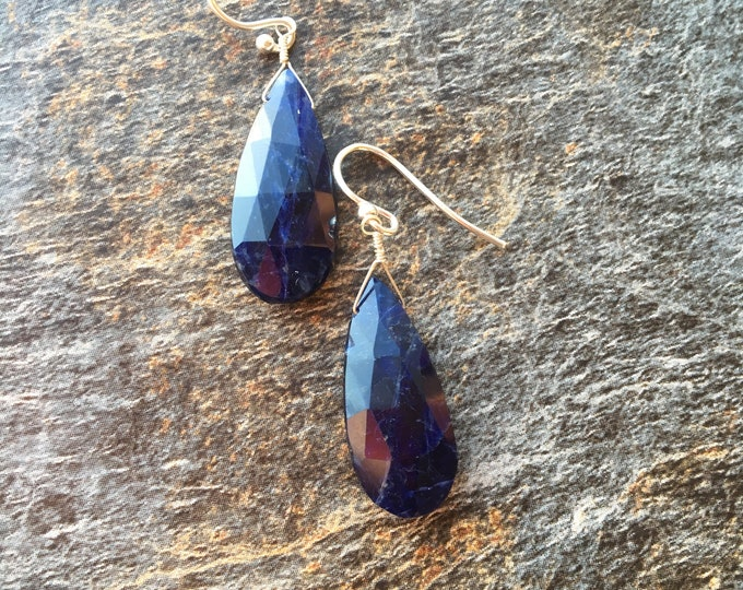 Denim Blue Sodalite Earrings Long Single Stone Talisman Chakra Energy