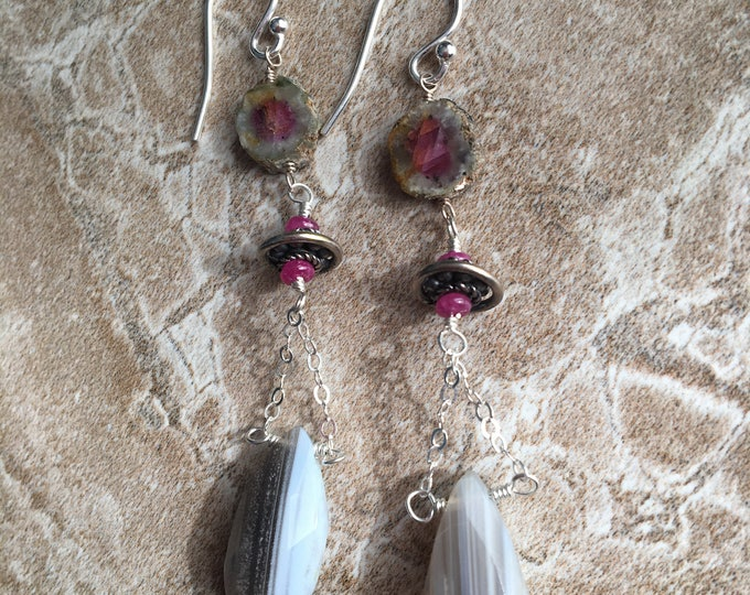 Boulder Opal and ruby tourmaline earrings with Sterling silver accents