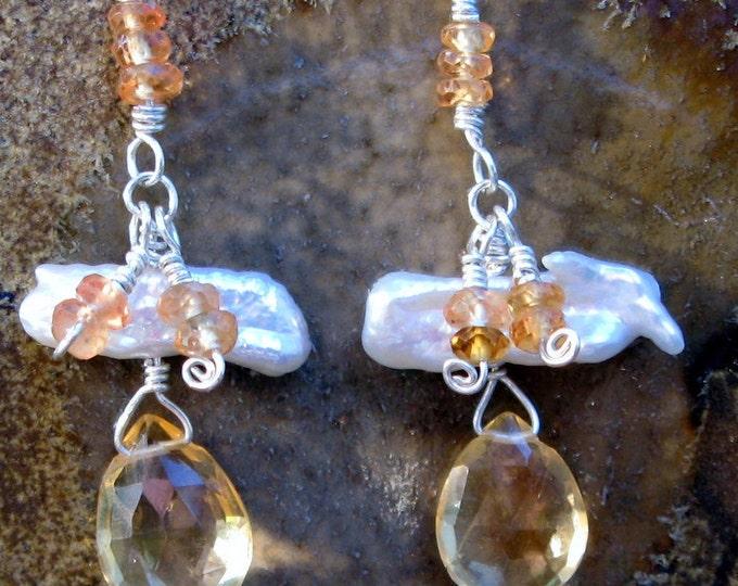 Handmade Citrine, Freshwater Pearl and Mandarin Garnet Earrings