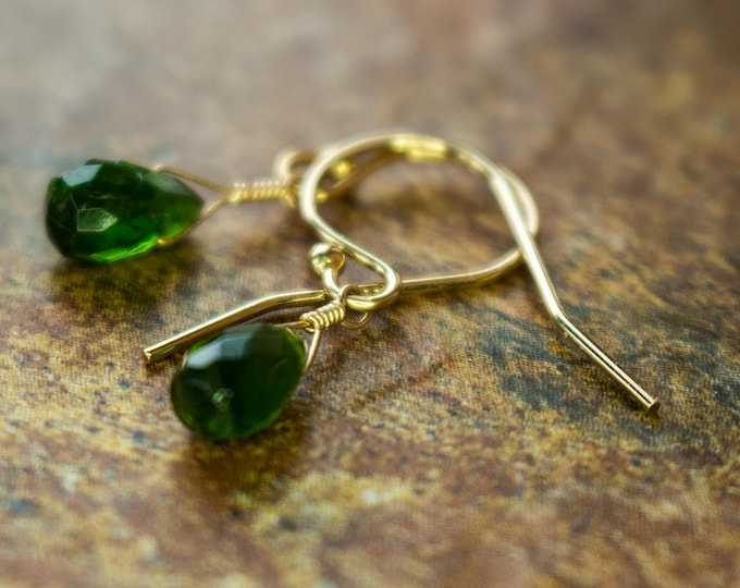 Gold Filled Chrome Diopside Green Littles Earrings Gift Healing Chakra Energy Gemstones Inspirational Gift