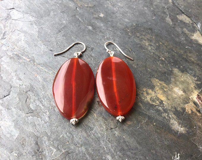 Large Orange Agate Slice Earrings with Bali Silver Accents