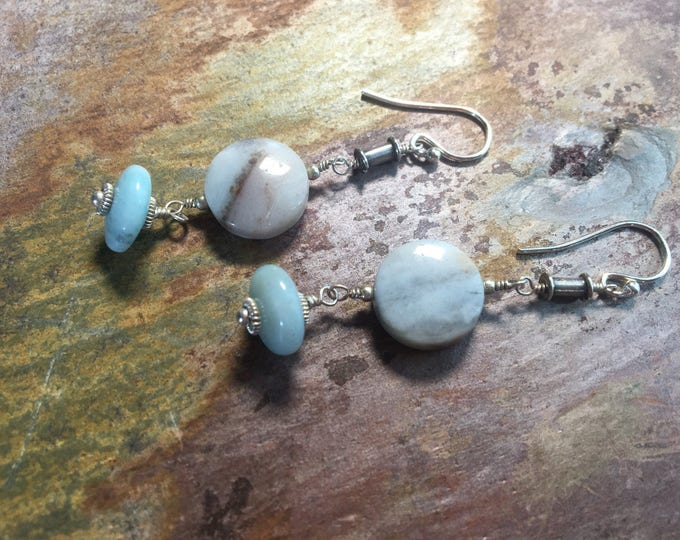 Blue Amazonite Earrings with Sterling Silver and Bali Silver Accents