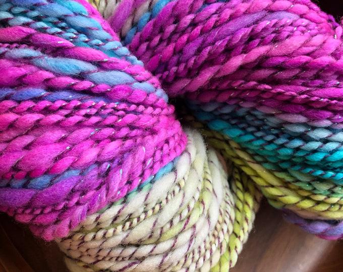 Bright Handspun Merino Wol Art Yarn In Pink, Blue and Yellow