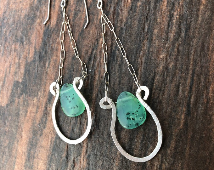 Smooth Hand Carved Chrysoprase and Sterling Silver Formed Swing Earrings