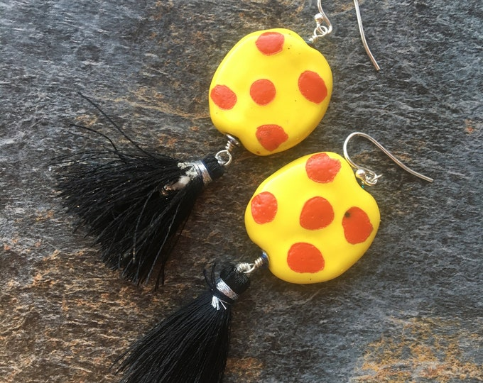 Red and Yellow Polka Dot African Ceramic Disc and Tassel Earrings Fun Bright, Colorful Loud Happy